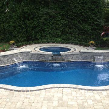 Fiberglass Pool with Raised Spa