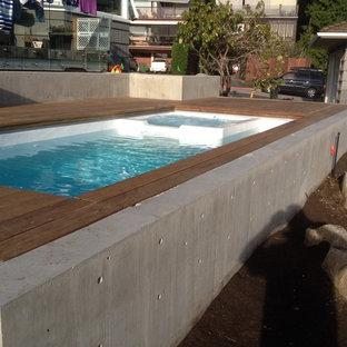Foto de piscinas y jacuzzis naturales, contemporáneos, pequeños, rectangulares, en patio trasero, con entablado