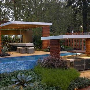 Inspiration för en funkis pool, med poolhus