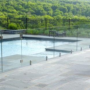 Modelo de piscina natural, moderna, de tamaño medio, rectangular, en patio trasero, con suelo de baldosas