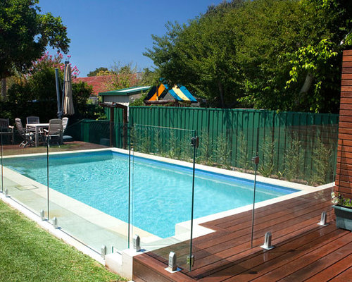 glass and wood pool fence photos
