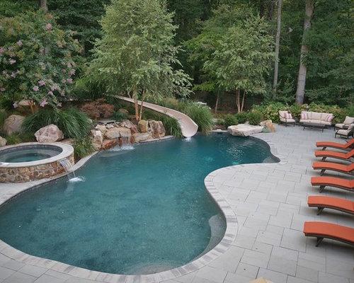 Foton och inspiration till utomhusdesign med vattenrutschkana for Demaria landtech