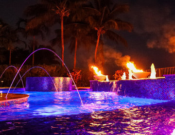 Freeform Lagoon Pool with Custom Spa LED Lights and Fire Bowls in Boynton Beach