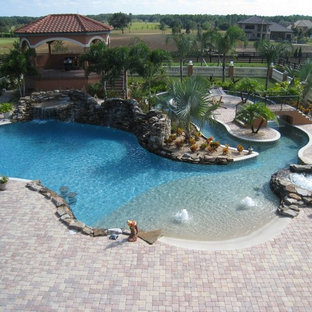 Example of an island style pool design in Tampa