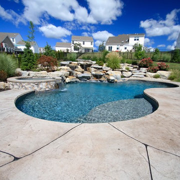 Freeform Style Pool with Waterfall and Fire Pit