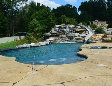 Freeform Style Pool with Waterfall and Waterslide