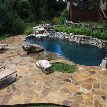 Freeform with large Flagstone deck