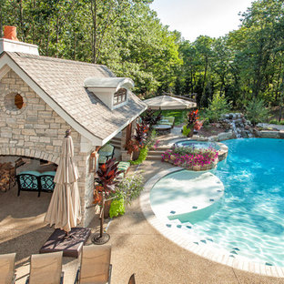 Imagen de casa de la piscina y piscina tradicional tipo riñón