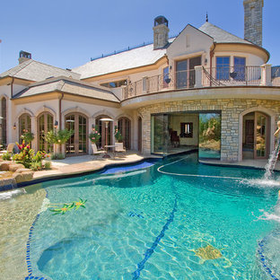 Indoor Outdoor Pool Design Fountain Mediterranean Custom Shaped Idea In Los Angeles