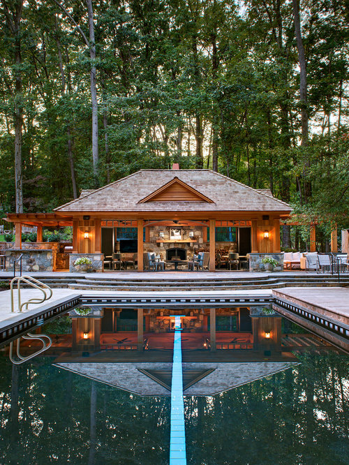 Lovely Pool House Ideas Part - 9: Example Of A Mountain Style Backyard Rectangular Pool House Design In DC  Metro