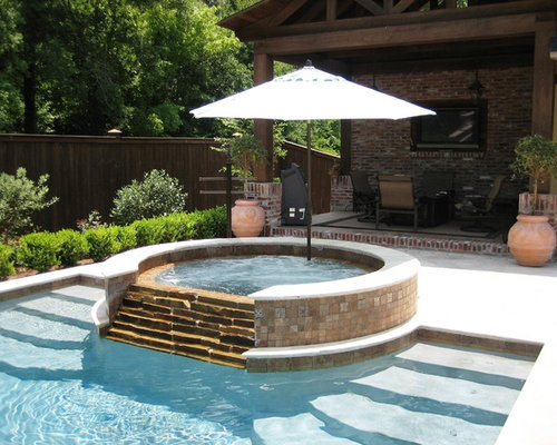 Overflow tub home design ideas pictures remodel and decor for Pool design with hot tub