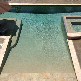 Ispirazione per una grande piscina monocorsia moderna personalizzata dietro casa con una vasca idromassaggio e pedane