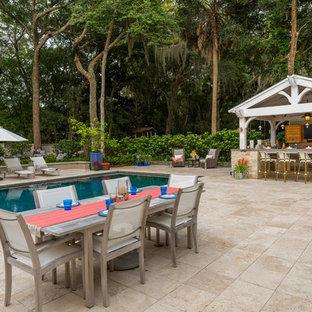 Gabled Roof Cedar Pergola & Outdoor Kitchen