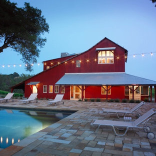 Pool house - large country backyard stone and rectangular lap pool house idea in San Francisco