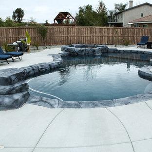 ロサンゼルスの大きいオーダーメイドトロピカルスタイルのおしゃれな裏庭プール (コンクリート板舗装) の写真