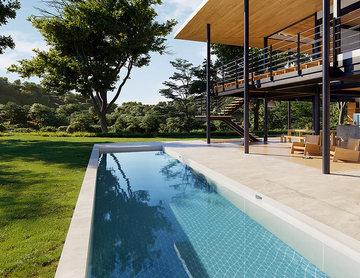 Geometric Pool Tiles: Villa House Pool Design