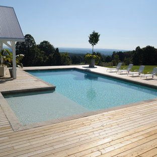 Example of a minimalist rectangular pool design in Toronto with decking