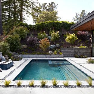 Idéer för en modern pool på baksidan av huset, med spabad