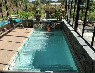 Glasshouse custom tiled salt-water spa