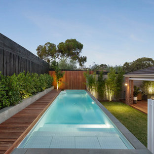 Contemporary rectangular pool in Melbourne with decking.