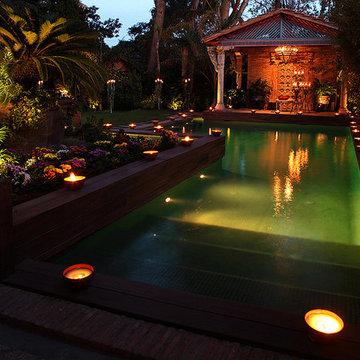 Green swiming pool and pool house