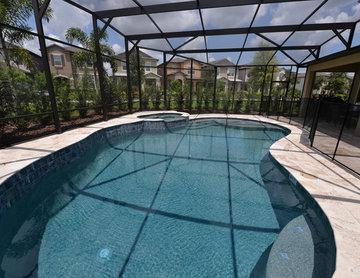 Gunite Pool and Spa in Winter Garden, FL with Travertine deck