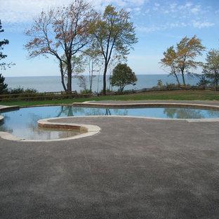 Diseño de piscina con fuente natural, de estilo americano, grande, a medida, en patio trasero, con suelo de hormigón estampado
