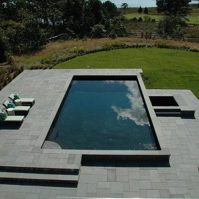 Hot tub - large contemporary backyard rectangular and tile lap hot tub idea in Boston