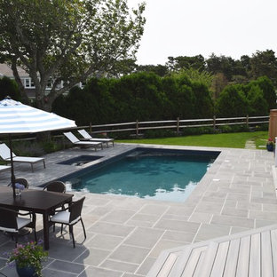 Inspiration for a mid-sized coastal backyard tile and rectangular lap pool remodel in Boston