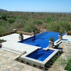 Mediterranean Pool by Hallmark Interior Design LLC
