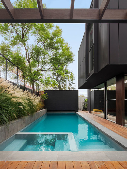 Side yard pool design ideas renovations photos with decking for Pool design houzz
