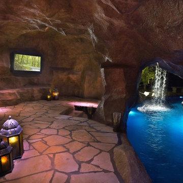 "HGTV's ""Cool Pools-Scuba Pool"" Swim Through Grottos, Lazy River & Waterfalls"