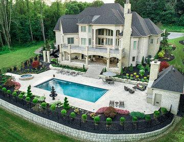 High-End Landscape Design with Custom Concrete Pool & Spa