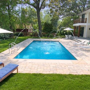 Highland Park, IL Inground Swimming Pool with Deck Sprays