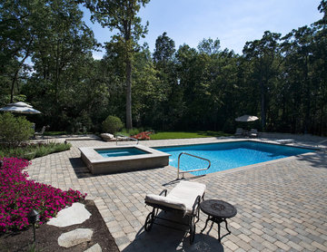 Highland Park Swimming Pool With Raised Hot Tub and Auto Cover