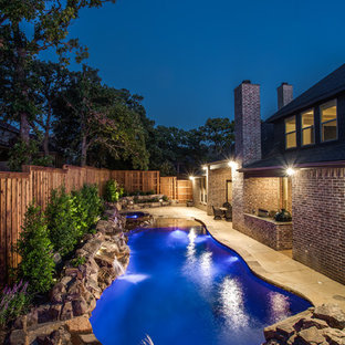 Design ideas for a small tropical backyard custom-shaped natural pool in Dallas with a water feature.