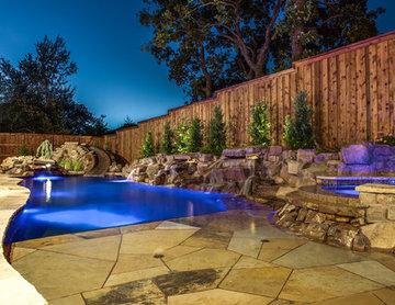 Highland Village, TX - Blue Falls Hideaway - Linear Custom Pool and Spa