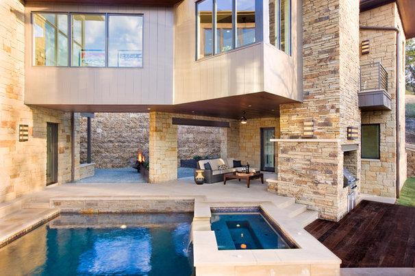 Contemporary Pool by Shoberg Custom Homes