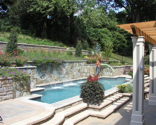 Hillside Pool Chevy Chase Maryland on Uphill Backyard Landscaping Ideas id=85233