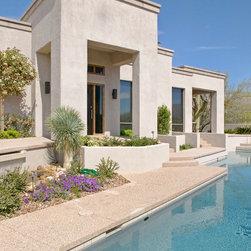 Mediterranean stamped concrete hardscape rectangle shape pool design ideas pictures remodel