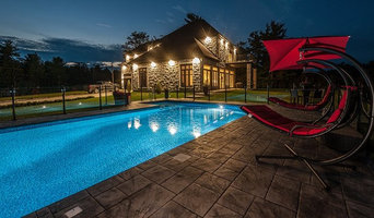 Hilltop multi level automated pool with lighted water features