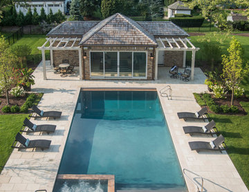 Hinsdale, IL Rectangular Swimming Pool, Sunshelf and Spa inside