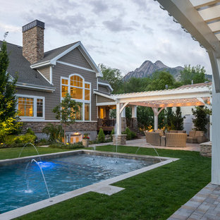 Design ideas for an arts and crafts pool in Salt Lake City.