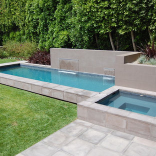 Inspiration For A Small Modern Backyard Rectangular And Concrete Paver Lap Pool Fountain Remodel In Los