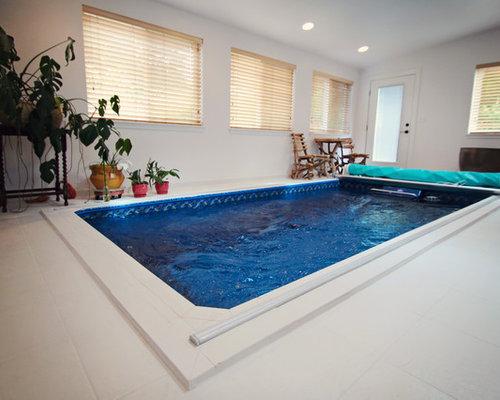 small elegant indoor tile and rectangular lap hot tub photo in seattle