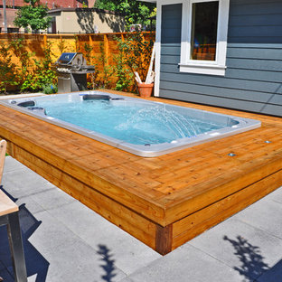 Mid-sized arts and crafts backyard rectangular aboveground pool in Las Vegas with a hot tub and concrete pavers.