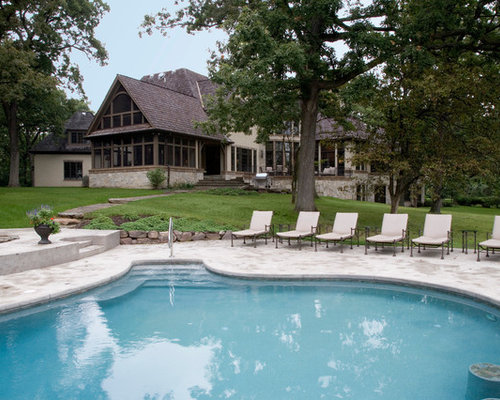 Inspiration For A Huge Timeless Backyard Concrete And Custom Shaped Pool  Remodel In Chicago