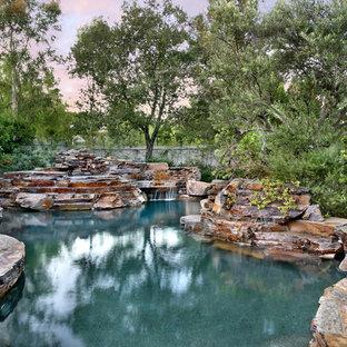 Modelo de piscina natural, rural, grande, a medida, en patio trasero, con adoquines de piedra natural