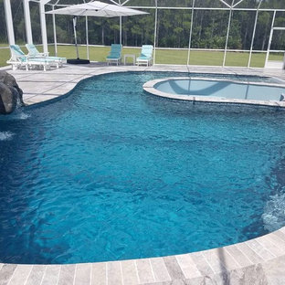 Indoor Pool with Fire Pit & Rock Water Feature