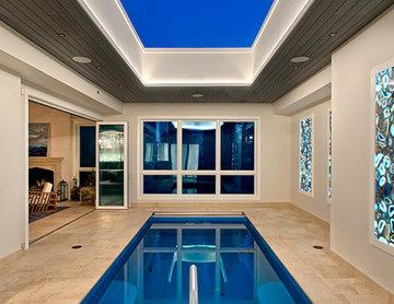 Indoor Pool with retracting skylight in Chicago